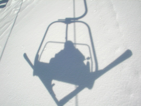 百沢スキー場 リフトの影